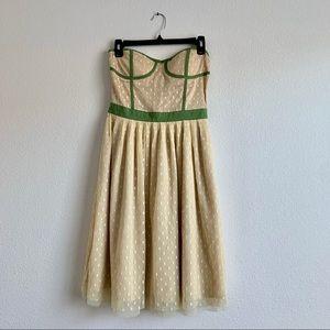 Romantic Corset Strapless Lace Polkadot Dress - S